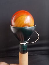 Vintage reproduction Handmade Wood Handpainted Wooden Ball Catcher Toy VGC 6inch