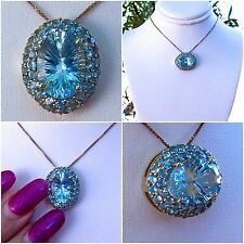 8.76ct Genuine Sky Blue Topaz with Swiss Blue Topaz 9k Solid Gold Pendant