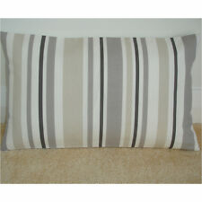 """NEW 20""""x12"""" Oblong Bolster Cushion Cover Stripes Grey Beige Cream Taupe Brown"""