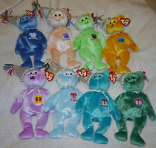 TY SET OF 8 BIRTHDAY BEANIE BABY BEARS HATS TAGS 2002 RELEASE.RETIRED MINT