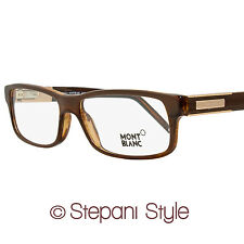 Montblanc Rectangular Eyeglasses MB334 062 Size: 56mm Striped Brown Horn 334