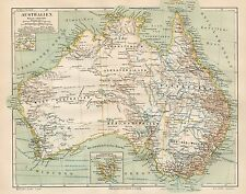 B6087 Australia - Carta geografica antica del 1890 - Old map
