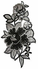 "#4076 5-1/4"" Gray/Black Rose Flower Bouquet Embroidery Iron On Applique Patch"