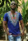 Odeneho Wear Men's Blue Polished Cotton Top/ Dashiki Design. African Clothing