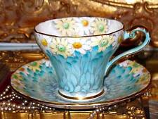 AYNSLEY DAISY PETALS FLORAL CHINTZ BLUE CORSET TEA CUP AND SAUCER