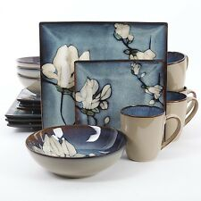 GIBSON BLOOMSBURY FLORAL DINNER DINNERWARE SET SQUARE PLATES BOWLS MUGS NEW