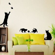 Removable Black Cat Vinyl PVC Wall Sticker Decal Mural Home Living Room Decor