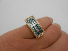 Very Heavy Wide Princess Cut Blue & Diamond Band Ring 14k Yellow Gold 2.25 Ctw