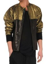 DAMIR DOMA RUNWAY BLACK /GOLD MENS LEATHER JACKET ITALY SIZE 50/40