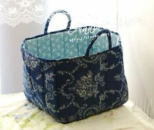 Navy French Cottage Past Time Quilted Storage/Laundry Basket/Bag/Box B18