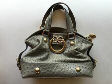 Dolce & Gabbana AUTHENTIC Ostrich Leather handbag with gold logos D&G
