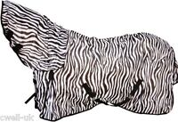 "New Horse/Cob/Pony fly rug combo attached neck cover Zebra Print 5'3""- 7'0"" SALE"