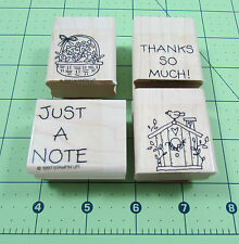 Stampin Up Just A Note Mini Stamp Set of 4 Thank You Birdhouse Flowers