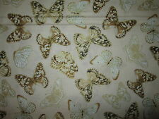 Butterfly Metallic Gold Light Tan Butterflies Cotton Fabric BTHY