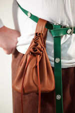 BELLISSIMO COMPLETO tan leather MEDIEVALE denaro BAG POUCH con coulisse HAND CUT