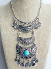 Silver Tibetan Vintage Style Bohemian Mexican Gypsy Indian Tassel Necklace