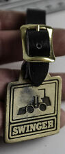 SWINGER LOADER SKID STEER WATCH POCKET FOB BRASS w/ LEATHER STREAP CONSTRUCTION