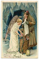 PERE NOEL.SANTA CLAUS. CHRISTMAS.ANGE.ANGEL.JOUETS.TOYS. GAUFRé. EMBOSSED.