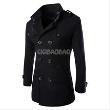 Wool Coat Men's Double Breasted Peacoat Long Men Jacket Winter Formal Dress Top