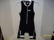 Louis Garneau Cycling Bib Shorts Suit WOMENS SZ LG BLACK 3/4 Zip Padded Shorts