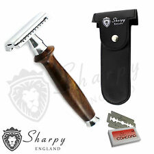 Sharpy Vintage Wooden Handle De Safety Razor +double edge shaving blades shaver