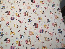 RARE Vtg Fabric Walt Disney Production Alphabet Mickey Daisy Pluto Bambi Thumper
