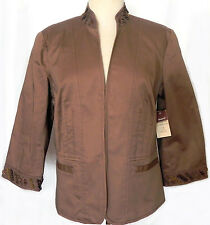 Womens Jacket Coldwater Creek Size 10 Bead Detail 3/4 Sleeve Solid Brown New