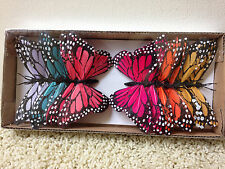 "WHOLESALE LOT 12 Decorative Assorted Brights 4.5"" Wide BUTTERFLIES on 6"" Wire FS"