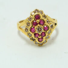 0.55ct Diamond and 0.40ct Ruby Cocktail Ring 14k Yellow Gold