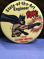 "1966 Batman State Of The Art Engineer Large Pin  Badge 3.5"" Very Rare !!"