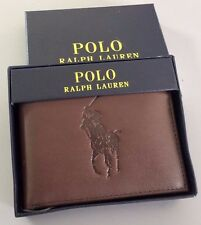 POLO Ralph Lauren BIG PONY Mens Leather Passcase Wallet Pass ID Billfold Brown