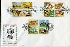 UNITED NATIONS SPECTACULAR COVER HOLDING 1995 ENDANGERED SPECIES 4 FDC
