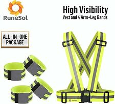 RuneSol Reflective Vest And 4 Arm/Leg Bands for High Visibility 24/7 Safety