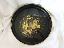 """Large Size Black Lacquer Wood Serving Tray for Sushi Gold-trim Floral 13"""""""
