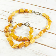 Natural Baltic Amber Set Necklace Bracelet Unique Honey White Irregular Polished