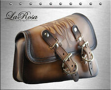 2004-2017 La Rosa Vintage Tan Leather Flame Harley Sportster Left Saddle Bag