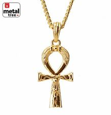 "Solid Gold Plated Egyptian Ankh Cross 4mm Cuban 30"" Chain Necklace Set MMP 114"
