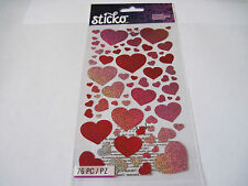 Scrapbooking Stickers Sticko Blissful Hearts Red Glittery Large Small Repeats