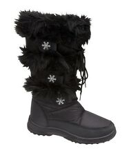 NEW LADIES WOMENS GIRLS SNOW WINTER RAIN FUR SKI MOON BOOTS SIZES 2 3 4 5 6