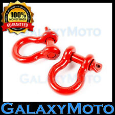 """Heavy Duty 1 Pair 3/4"""" RED 4.75 Ton D-Ring Bow Shackle Off Road 4x4"""