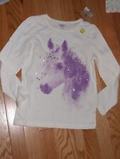 NWT - Crazy 8 long sleeved ivory, purple & silver horse top - 5/6 girls