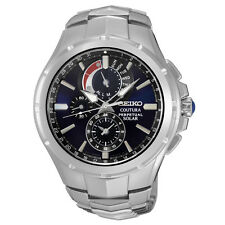 Seiko Men's SSC375 Coutura Solar Perpetual Chrono Analog Display Silver Watch