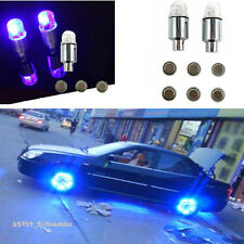 4 Pcs Blue LED Autos Wheel Tyre Tire Air Valve Stem Cap LED Light Lamp For Audi