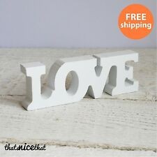 Small Cream Love Letters Wooden White Free Standing Decoration Wedding Gift Fun