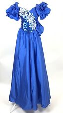 Alyce Designs Sequin Fabulous Royal Blue Full Length Gown Formal Fancy Dress