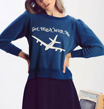 Wildfox Couture Get High With Me Sweater In Stewardess Navy Size S