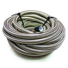 "AN -4 AN4 3/16"" 5MM Stainless Steel Braided PTFE Fuel Hose Pipe 1/2 Metre"