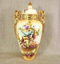 "Rare Antique Vase Hand Painted Art Nouveau Large Jar 1900s Falcon Ware 18"" Tall"