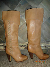 "Womens Sz 6M Camel/Nude Brown Leather Tall Fashion Boots 3.75"" Heels Gold Tips"