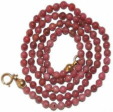 VINTAGE 3.2mm SMALL RHODONITE BEADS 9K Gold CLASP KNOTTED BEAUTIFUL NECKLACE